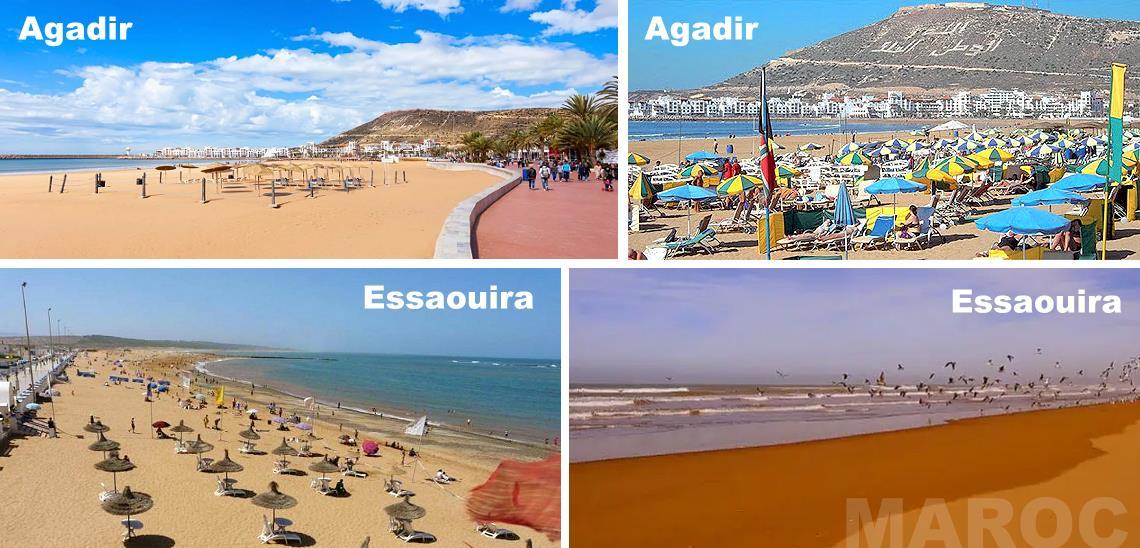 Plages Agadir et plages Essaouira au Maroc