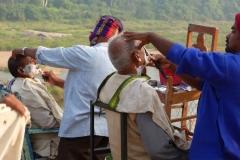 Hampi, Inde, barbier