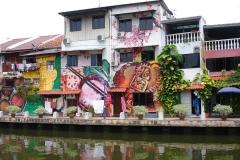 Rivière, maisons colorées, Malacca, Malaisie
