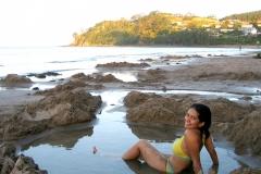 Plage d'eau chaude, Hot water beach, Coromandel, Nouvelle-Zélande, Source géothermale
