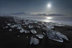 Plage, Jokulsarlon, Islande, sable noir volcanique, icebergs