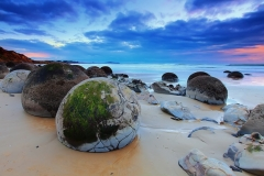 Plage, Moeraki boulders, œufs de dragon, Koekohe beach, Nouvelle-Zélande