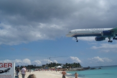 Plage, Maho beach, avions, Juliana, aéroport, Saint Martin