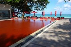 Thaïlande, île Koh Samui, Chaweng plage, piscine rouge The Library hôtel
