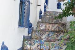 Tunisie, Sidi Bou Saïdn marches d'escalier en carrelage typique