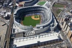New York City, USA, survol du Yankee Stadium, stade de baseball et de soccer, Bronx