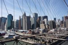 New York City, USA, Manhattan sud sur le pont de Brooklyn