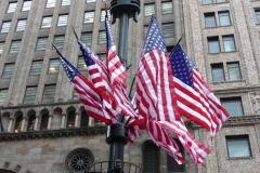 New York City, USA, Manhattan, drapeaux américains USA