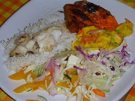 Barracuda et riz des Seychelles