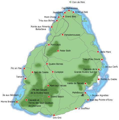 Carte des plages de l'île Maurice