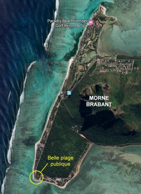 Carte de la plage publique du Morne Brabant