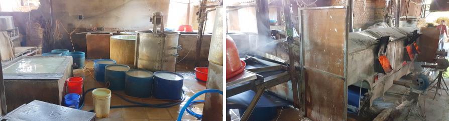 Fabrication artisanale des nouilles de riz au Vietnam