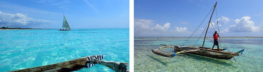 Bateaux du lagon de Jambiani Zanzibar Tanzanie