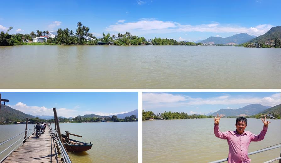 Rivière Cai Nha Trang et pont de bois Cau go Phuoc Kieng