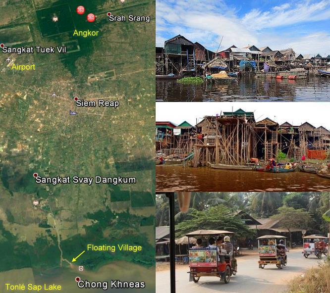 Village flottant de Chong Khneas sur le lac Tonlé Sap