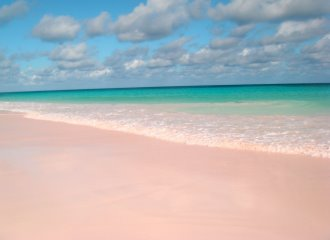 Plage de sable rose Coral Pink Sand Beach à Harbour Island Bahamas
